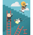african businessmen who are up ladder of vector image vector image