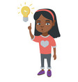 african little girl pointing at the lightbulb vector image vector image