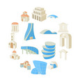 architecture set icons vector image vector image