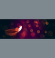 beautiful diwali diya on bokeh lights banner vector image