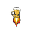 Beer Mug Rocket Ship Blasting Retro vector image vector image