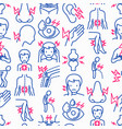 body aches seamless pattern with thin line icons vector image vector image