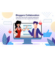 business bloggers collaboration flat banner vector image vector image