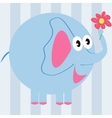 cartoon elephant with a flower vector image