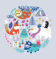 childish with winter animals vector image vector image