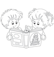 Children reading vector image