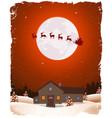 christmas landscape and flying santa vector image