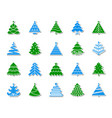 christmas tree patch sticker icons set vector image vector image