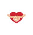 creative handshake heart inside logo vector image vector image