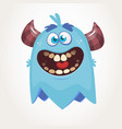 cute cartoon monster with horns laughing vector image vector image