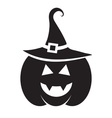 Cute Halloween black pumpkin with hat vector image