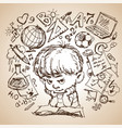 drawing sketch a boy with a book vector image vector image