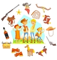 Family Dressed As Cowboys Surrounded By Wild West vector image vector image
