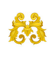 golden baroque pattern decorative floral ornament vector image vector image