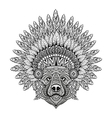 Hand Drawn patterned Bear in zentangle style in vector image