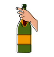 hand holding a champagne bottle vector image vector image