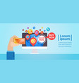 hands holding credit card discount tag sale online vector image