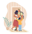 happy father coming back home hugging his wife vector image