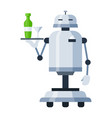 humanoid robot maid holding bottle cocktail glass vector image vector image