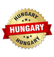 Hungary round golden badge with red ribbon vector image vector image