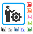 industrial gear engineer framed icon vector image vector image