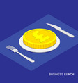 isometric 3d coin with pound sign on plate vector image