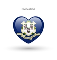 Love Connecticut state symbol Heart flag icon vector image vector image