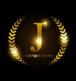luxury golden letter j for premium brand identity vector image