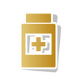 medical container sign golden gradient vector image