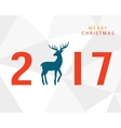 Merry Christmas 2017 with hand drawn vintage deer vector image