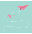 Origami pink paper plane Dash line in the sky Love vector image vector image