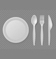 plastic cutlery realistic disposable serving vector image