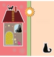Postcard with decorative house and a cat vector image vector image