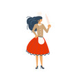 pretty woman in red is cooking vector image