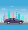 purple modern car riding on road near skyscrapers vector image vector image