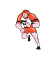 Rugby Player Running With Rugby Ball Cartoon vector image vector image