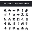 simple icons burning man vector image