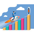 successful business man flying on rocket on graph vector image vector image