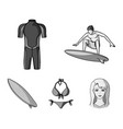 surfer wetsuit bikini surfboard surfing set vector image vector image