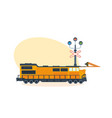 train on railway on street of city vector image vector image