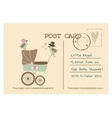 vintage cute bashower greeting postcard vector image