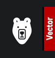 white bear head icon isolated on black background vector image vector image