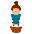 woman washing hands on white background vector image vector image