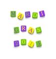 words mardi gras 2015 vector image vector image