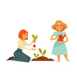 young cartoon girls plant sweet beet isolated vector image vector image