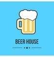 glass of beer isolated on blue background vector image