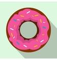 Pink glazed donut icon flat style vector image