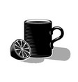 a cup of hot tea and half a lemon black drawing vector image vector image