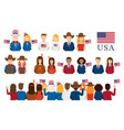 americans people portrait and crowd in back view vector image