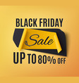 black friday sale banner on orange background vector image vector image